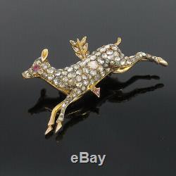 Antique Edwardian 5.50ct Rose Cut Diamond Silver & Yellow Gold Deer Brooch
