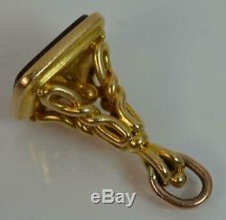 Antique Heavy 18 Carat Yellow Gold & Carnelian Watch Fob Pendant t0297