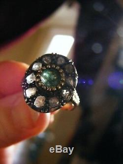 Antique Italian 18k Yellow Gold & Silver Rose Cutdiamonds Emerald Ring