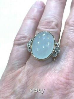 Antique Natural Chalcedony 18k Yellow Gold & Silver Ring Size 7