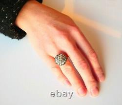 Antique Ring 5ctw Diamonds solid 18K Yellow Gold Silver Ø 8.25 US/ 8.8gr