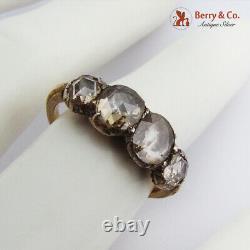 Antique Rose Cut Diamond Engagement Ring 18 K Yellow Gold