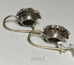 Antique Russian 14K Gold Silver Yellow Sapphire Rose Cut Diamond Drop Earrings