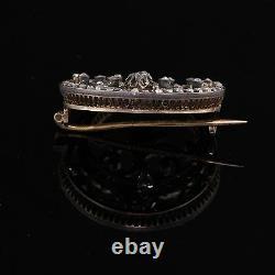 Antique Victorian 14K Yellow Gold, Silver Top & Diamond Brooch