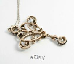 Antique, Victorian 14k Gold, Silver, Diamond Lavalier Necklace