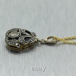Antique Victorian 14k Yellow Gold & Silver 0.40ctw Diamond Pendant 18 Necklace