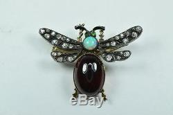 Antique Victorian Bug Insect Pin Brooch Yellow Gold Silver Diamonds Opal