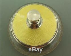 Art Deco English Solid Silver & Yellow Gold Guilloche Enamel Powder Bowl