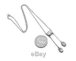 Art Deco Negligee Necklace solid 18K Gold Silver Blue Moonstones / 42 cm / 5.2gr
