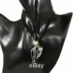Auth Cartier 18K Yellow Gold Silver 800 Panther Pendant Top Necklace Charm H1465