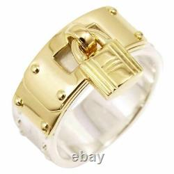Auth HERMES 18K Yellow Gold Silver 925 Kelly Ring US6.5 EU52 K1373