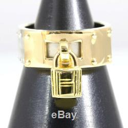 Auth HERMES 18K Yellow Gold Silver 925 Kelly Ring US6.5 EU53.5 D1175