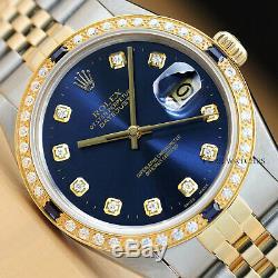 Authentic Mens Rolex Datejust Quickset 2-tone Blue Diamond Sapphire Watch