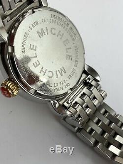 Authentic Michele Elegance Gold Silver CSX 61 Diamonds MOP Watch