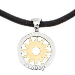 BVLGARI Tondo Sun Necklace Pendant K18YG/SS Yellow Gold Silver Stainless steel