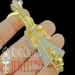 Big 3D Grim Reaper Charm Pendant 3.5 10K Yellow Gold Silver Lab Diamond + Chain