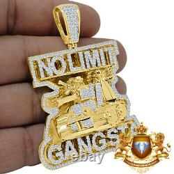 Big XL Real Yellow Gold Silver Military Army Tank Pendant No limit Gangsta Charm