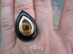 Black Onyx & Golden Citrine & 18 KT Yellow Gold & Silver Ring Large Dome Design