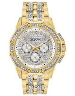 Bulova 98C126 Men's Swarovski Crystal Gold-Tone Stainless Steel Pavé Dial Watch