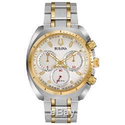 Bulova CURV Men's Quartz Chronograph Gold Tone Accents 43mm Watch 98A157