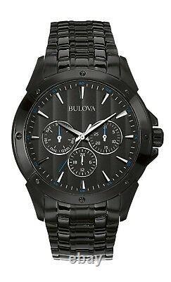 Bulova Classic Men's Quartz Multi-Dial Black Bracelet 43mm Watch 98C121