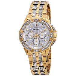 Bulova Crystal Silver Dial Yellow Gold-tone Men's Watch 98C126