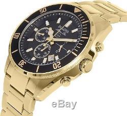 Bulova Marine Star Men's 98B250 Quartz Chronograph Black Dial Gold Tone Watch