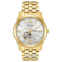 Bulova Men's 97A130 Automatic Open Heart Silver-White Dial Bracelet 42mm Watch