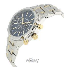 Bulova Men's 98B284 Quartz Chronograph Blue Dial Two-Tone Bracelet 43mm Watch