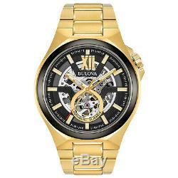 Bulova Men's Automatic Skeleton Dial Exhibition Case Back 46mm Watch 98A178