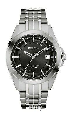 Bulova Men's Precisionist Quartz Date Calendar Black Dial 43mm Watch 96B252