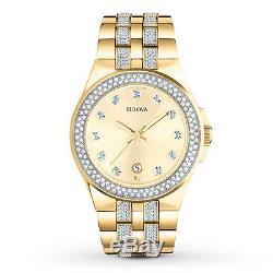 Bulova Men's Quartz Crystal Accents Gold-Tone 42mm Bracelet Watch 98B174