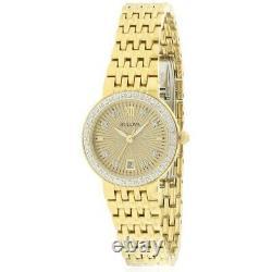 Bulova Women's Quartz Diamond Accent Date Indicator Gold-Tone 26mm Watch 98R212
