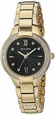 Bulova Women's Quartz Diamond Accent Gold-Tone Band Black Dial 28mm Watch 98R222