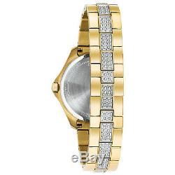 Bulova Women's Quartz Swarovski Crystal Accents Gold-Tone 35mm Watch 98L228
