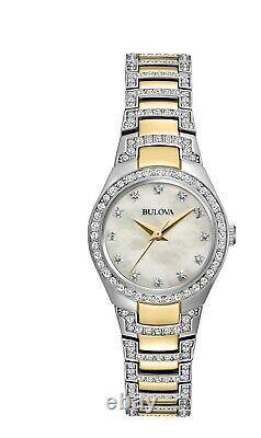 Bulova Women's Quartz Swarovski Crystal Accents Two-Tone 24.5mm Watch 98L198