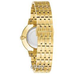 Bulova Women's Quartz Ultra Slim Gold Tone Champagne Dial 36mm Watch 97P123