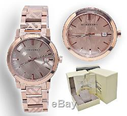 Burberry Watch Women BU9039 Rose Gold Check Stamp Stainless Steel Link Band 38MM