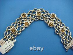 C. Krypell 18k Yellow Gold & Silver Large Yellow Topaz 3 Row Bracelet 55.8 Grams
