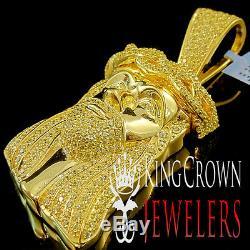 Canary Jesus Piece Pendant Charm Face Real Yellow Gold Silver Simu Diamond 3'
