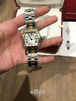 Cartier 2510 Roadster Large Steel 18 Kt Yellow Gold Silver Roman Swiss Watch