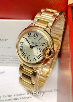 Cartier Ballon Bleu W69001Z2 28mm Yellow Gold Silver Roman Numeral Dial SERVICED