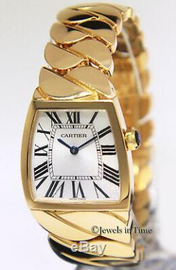 Cartier La Dona 18k Yellow Gold Silver Roman Dial Ladies 28mm Quartz Watch 2836