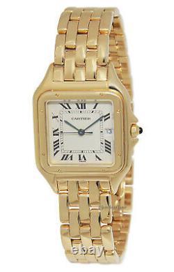 Cartier Panthere Large 18k Yellow Gold Silver Roman Dial Quartz Watch