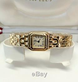 Cartier Panthere W25034N3 17mm Yellow Gold Silver Roman Numeral Dial SERVICED