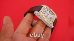 Cartier Santos 100xl Two Tone Watch Fully Iced 550 Diamonds 7.50 Carats