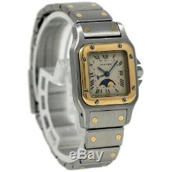 Cartier Santos Galbee 24mm 119902 Steel Gold Silver Moon Phase 2 Year WTY #466-3