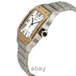 Cartier Santos de Cartier Steel and Yellow Gold Silver Roman Dial Watch W2SA0009