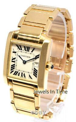 Cartier Tank Francaise 18k Yellow Gold Silver Dial Ladies Mid Watch/Box 2466