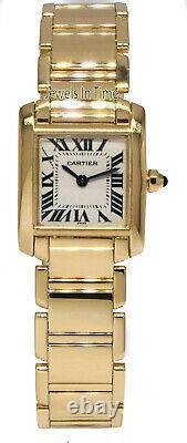 Cartier Tank Francaise 18k Yellow Gold Silver Dial Ladies Quartz Watch B/P 2385
